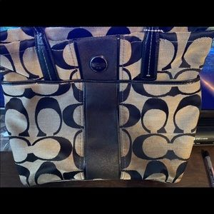 Coach Black and Grey Monogram Tote